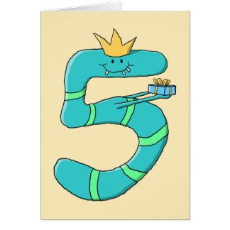 5th Birthday, Cartoon Monster in Teal. Card
