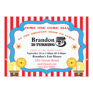 5th Birthday Circus Invitation