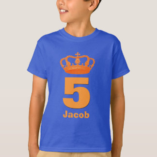 5th Birthday Crown and Big Number Custom Name Blue T-Shirt