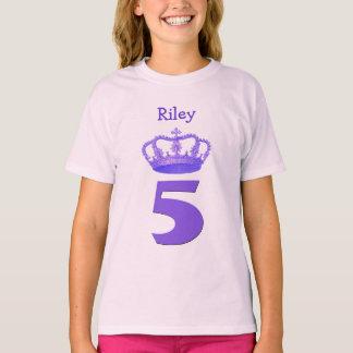 5th Birthday Crown and Big Number Custom Name Girl T-Shirt