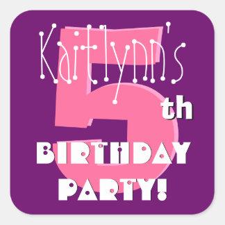 5th Birthday Custom Name Pink and Purple Square Sticker
