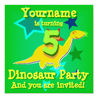 5th Birthday Dinosaur Party Invitations