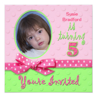 "5th BIRTHDAY FOR GIRL - PHOTO INSERT - PINK 5.25"" Square Invitation Card"