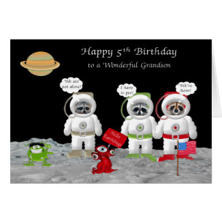 5th Birthday For Grandson Greeting Cards