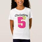 5th Birthday Girl Hot Pink & Green Dots T-Shirt