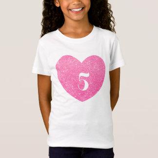 5th Birthday Glitter Pink heart Personalized T-Shirt