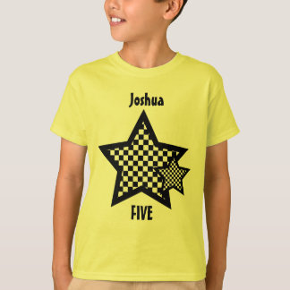 5th Birthday Kid Stars Custom Name T-Shirt