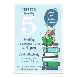 5th Birthday Library Party Book Invitation