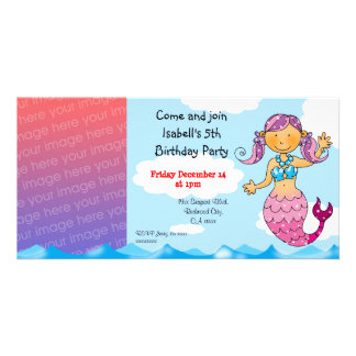 5th birthday mermaid girl party personalized card