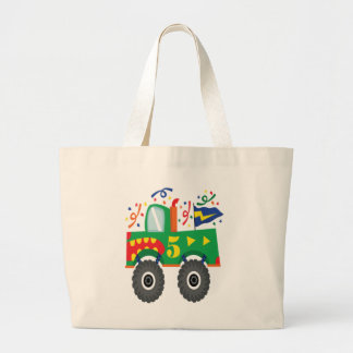 5th Birthday Monster Truck Party Kids Large Tote Bag