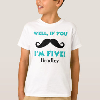 5th Birthday Mustache Personalized T-Shirt