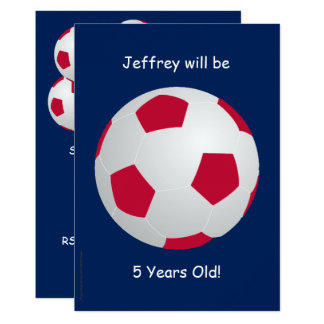 5th Birthday Party Invitation Soccer Ball