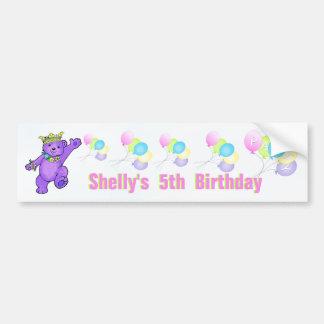 5th Birthday Party Purple Princess Bear Car Bumper Sticker