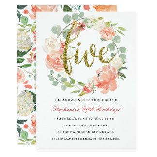 5th Birthday Pink Gold Floral Wreath Invitation