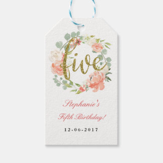 5th Birthday Pink Gold Floral Wreath Tags