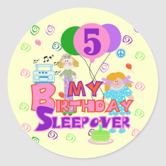 5th Birthday Sleepover Tshirts and Gifts Classic Round Sticker