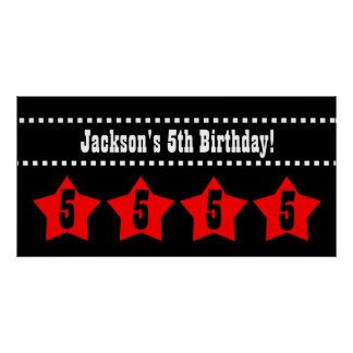 5th Birthday Stars Banner A06 RED and BLACK Print