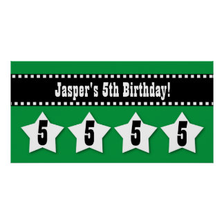 5th Birthday Stars Banner Custom Name A03 GREEN Poster