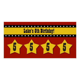 5th Birthday Stars Banner Custom Name B05 RED Posters