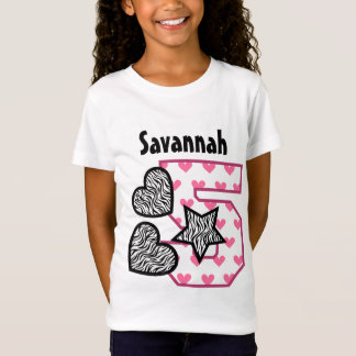 5th Birthday Zebra and Pink Hearts Five Year 30F T-Shirt