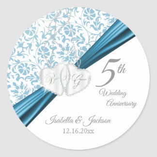 5th Blue Wedding Anniversary Design Classic Round Sticker