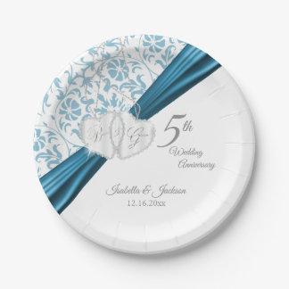 5th Blue Wedding Anniversary Design Paper Plate