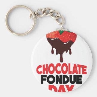 5th February - Chocolate Fondue Day Basic Round Button Keychain