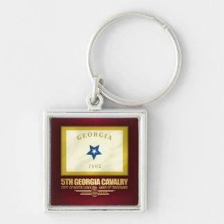 5th Georgia Cavalry Silver-Colored Square Keychain