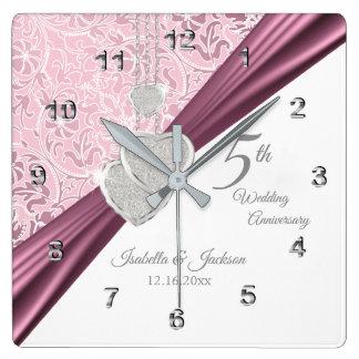 5th Pink Wedding Anniversary Keepsake 2 Square Wall Clock