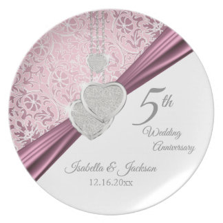 5th Pink Wedding Anniversary Keepsake Design Plate