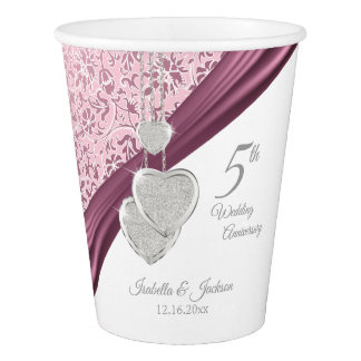 5th Pink Wedding Anniversary Paper Cup