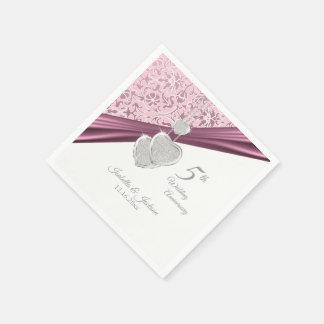 5th Pink Wedding Anniversary Paper Napkin