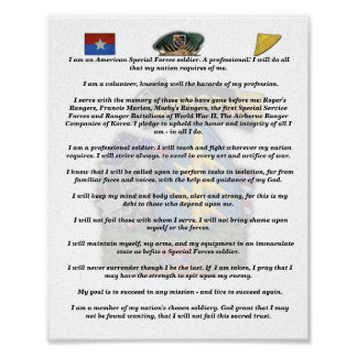 5th Special Forces Green Berets vietnam nam creed Poster
