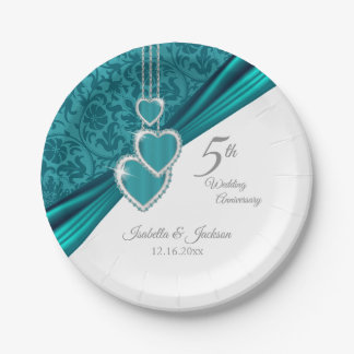5th Turquoise Wedding Anniversary Design Paper Plate
