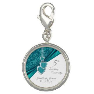5th Turquoise Wedding Anniversary Keepsake Design Charm
