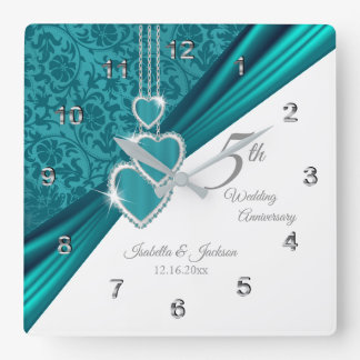 5th Turquoise Wedding Anniversary Keepsake Square Wall Clock
