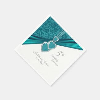 5th Turquoise Wedding Anniversary Napkin