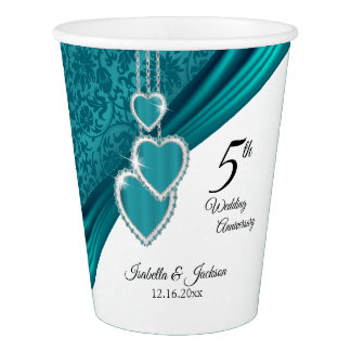 5th Turquoise Wedding Anniversary Paper Cup