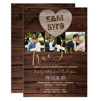 5th Wedding Anniversary - ADD PHOTOS x 3 RUSTIC Card