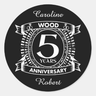 5th wedding anniversary distressed crest classic round sticker
