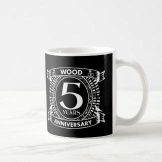 5th wedding anniversary distressed crest coffee mug