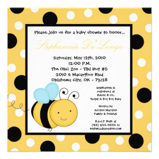 5x5 Buzzin Honey Bumble Bee Baby Shower Invitation