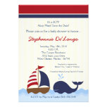 5x7 AhoyNautical Whale Boat Baby Shower Invitation