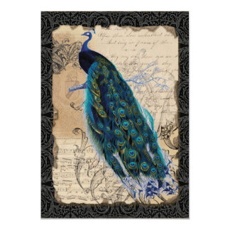"""5x7 Ancient Peacock Save the Date Cards Black Tan 5"""" X 7"""" Invitation Card"""