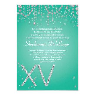 5x7 Aqua Diamond Quinceanera Birthday Invitation