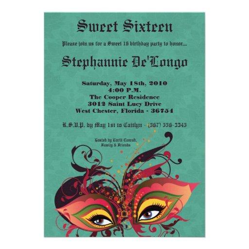 5x7 Aqua Masquerade Sweet 16 Birthday Invitation