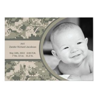 5x7 ARMY ACU Camo Camo Photo Birth Announcement