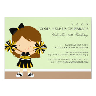 5x7 Black/Gold Cheerleader Birthday Party Invite