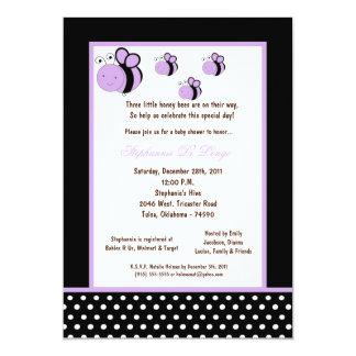 5x7 Black Honey Bee Baby Shower Announcement