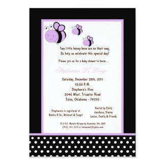 5x7 Black Honey Bee Baby Shower Custom Invitations
